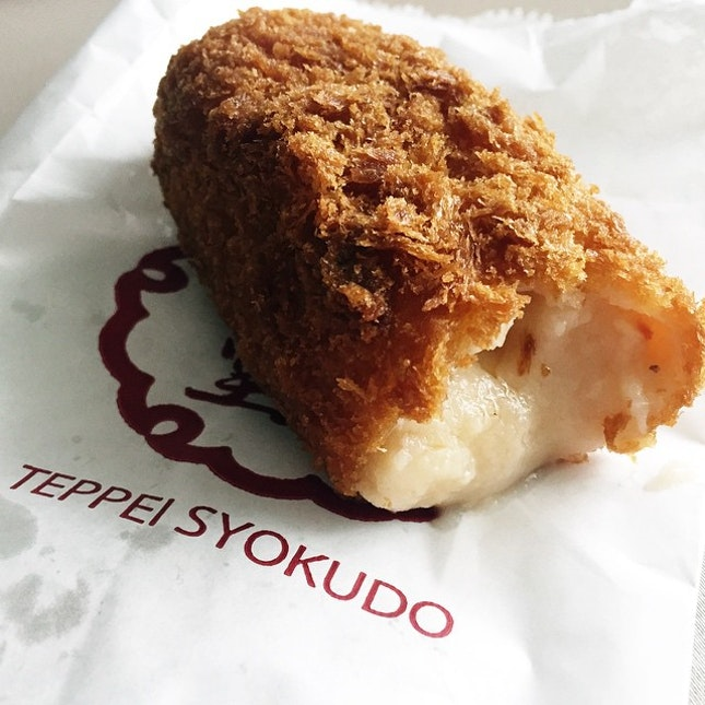 Day 70 of #tataros365happydays - dinner in a form of a cream crab croquette from #teppeisyokudo.