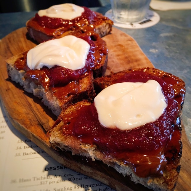 Chargrilled Sourdough ($4) with Hazelnut Butter, Rhubarb Conserve, Ricotta ($12)