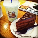 Green Tea Frappe and Chocolate cake!