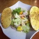 Greek salad (with Feta cheese) 🧀🍅🍌🍏🍊🍎🍋🍓🍉 #burpple #healthychoices #healthyeating #morevegetables #mybirthdaymonth