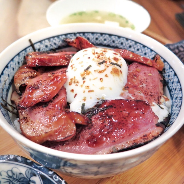 Glazed Duck With Onsen Egg [$14.80]