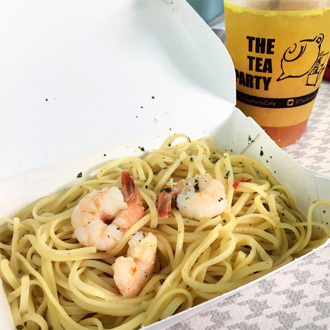 Prawn Aglio Set [$5, at 50% off for NUS Students and Staff]