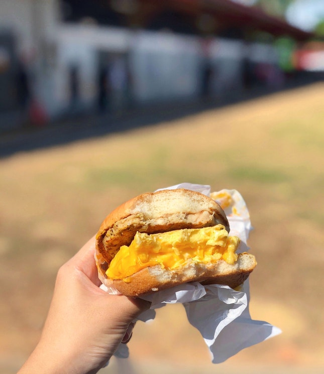 Scrambled Egg Burger with Sausage [$4.60 Ala Carte or $6.10 for Set]
