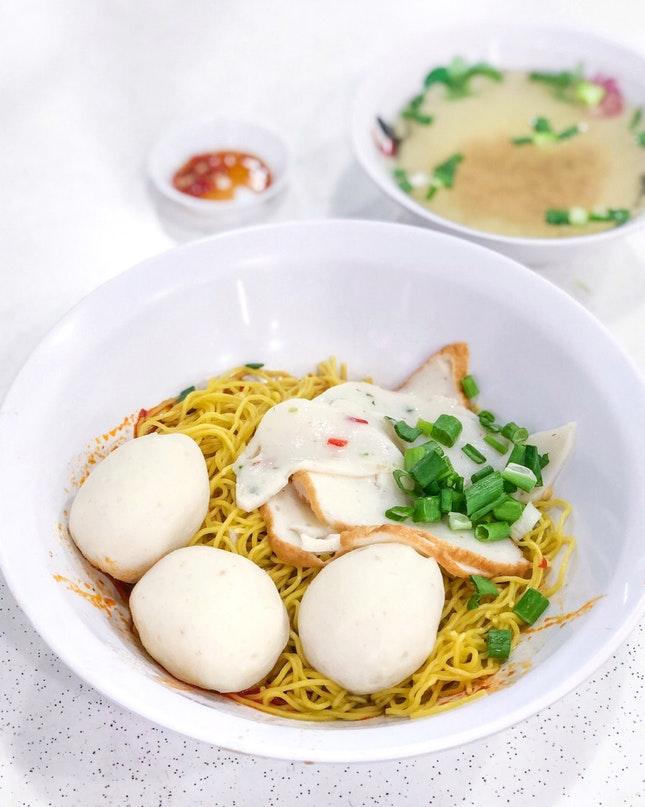 Handmade Fishball Noodles 手工鱼圆面 [$4]