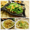 Clockwise : Stir fried Baby kailan with oyster sauce $8, Mixed vegetables with seafood $8, Beancurd with crab meat $9.90.