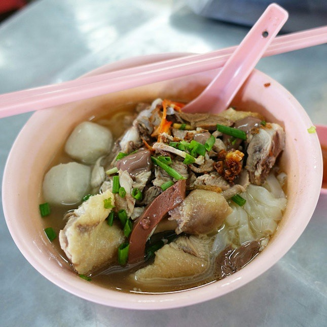 Trying the famous duck kway teow soup here...