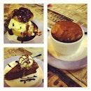 Round 3: Desserts of giant profiterole, choc cake w vanilla ice cream, choc soufflé #soufflé #nomz #foodporn #dessert #cake #icecream #profiterole #french 🇫🇷