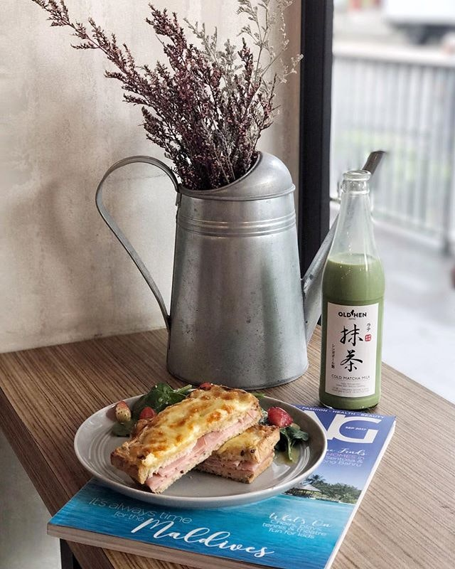 Cold Matcha Milk —$7 To go with Croque Monsieur ($9) which comes with a hint of light truffle oil within.