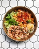 Mentaiko bowl—from $9.90 My current fix for mentaiko salmon with mixed grains and i must admit that i've added extra spicy salmon chunks ($6), extra base of salad ($2) and topped up with onsen egg & salmon roe ($1-$2/each).