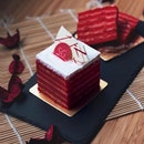 Cempedak Layer Cake —$6.80 For the coming National Day, @bakerzin.sg unveils this sexy red cake using 100% fresh pure jackfruit between each velvety layer of sponge cake.