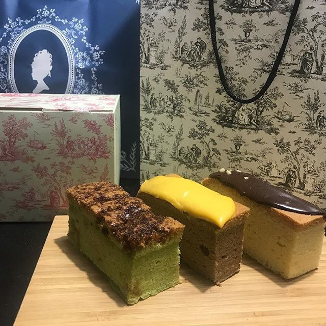 The Queen Castella - Earl Grey Cheese, Nutella and Ondeh Ondeh.