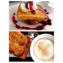 Top: French toast with berries & ricotta Bottom: Croque Madame + truffled baked eggs #burpple