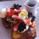Most Beautiful Brioche French Toast. Ever. Berries, Edible Flowers And Honeycomb. At Bar Indigo, Double Bay, Sydney