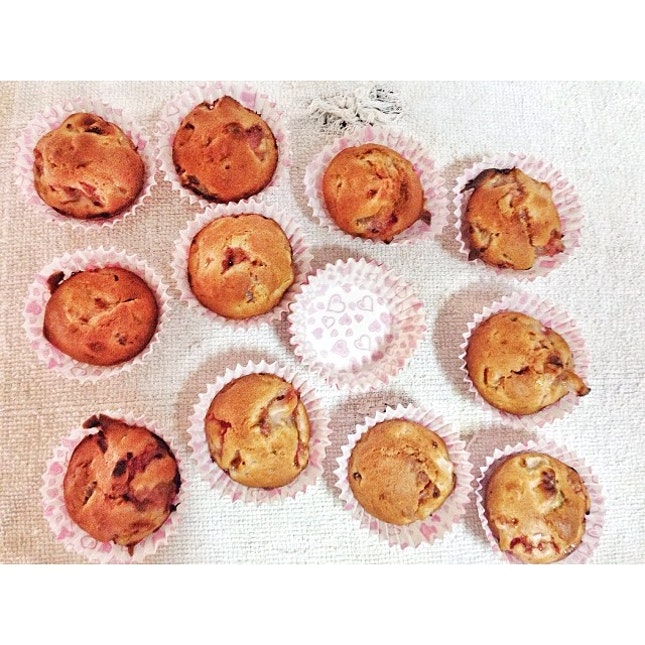 End result of the fat free strawberry banana muffin that has too much strawberries for the batter.
