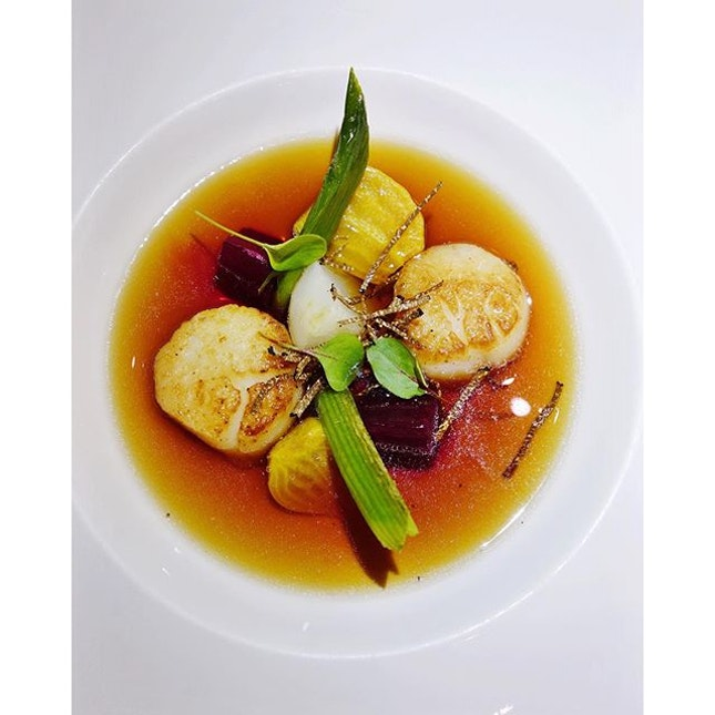 Oxtail consommé with scallops, beet, leeks, and black truffle.