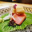 This marbled otoro and chutoro served with a soy sauce foam @kaisekiyoshiyuki are to die for.