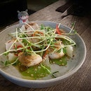 Juicy grilled scallops with a tasty green curry sauce, pomelo, and peanuts for a lovely textural contrast!