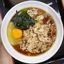 Beef sukiyaki soba with added raw egg for extra umami!