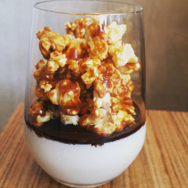 Fancy a glass of chilled Panna Cotta topped with chocolate sauce and gourmet popcorn?