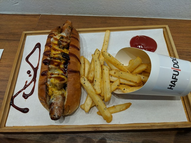 Toasted Cheese Dog With Pork Sausage