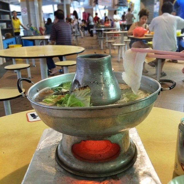 Charcoal fired Pomfret Steamboat.