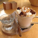 Fill's Signature- Latte top with whipped cream & salted caramel blondie @ Fill in the Blank, Sukhumvit 61