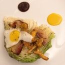 Roasted green cabbage, Girolle Mushroom with Alsace Bacon and Fried Quail Egg served with Mustard and BBQ Sauce. ($48++ per serving) .