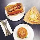 mighty charlie burger, charlie hot dog, truffle fries #sgfood food 👎 companionship 👍