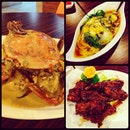 creamy butter crab, spinach with three eggs, guinness pork ribs