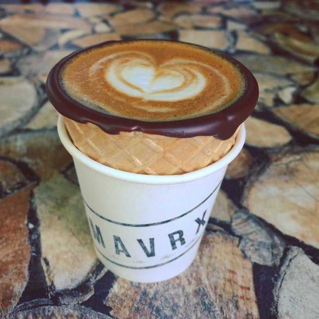 piccolo latte in chocolate waffle cone