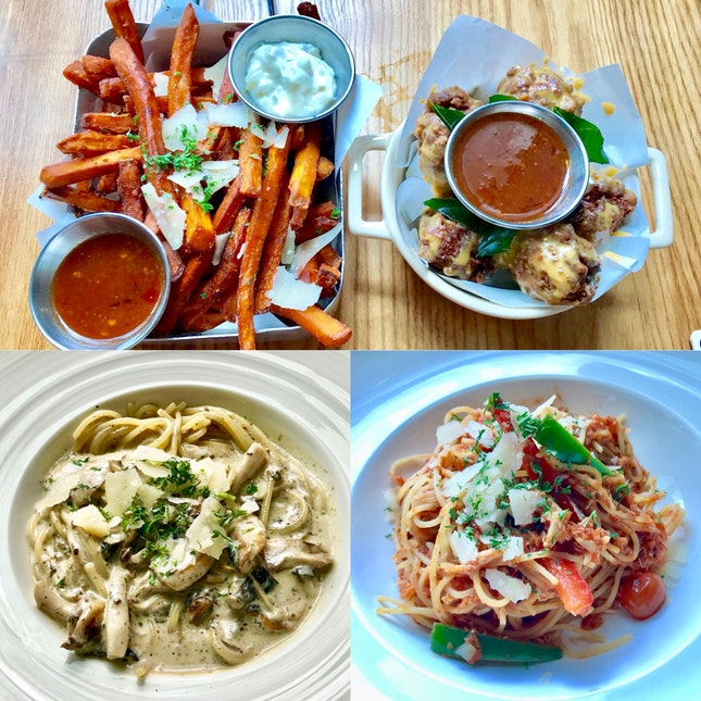 truffle sweet potato fries ($17) x salted egg fried drumlets ($16) x al funghi pasta ($17) x crabmeat pasta ($27)