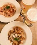 Spaghetti Aglio e Olio & Pappardelle Meat Ragu ($24 each)