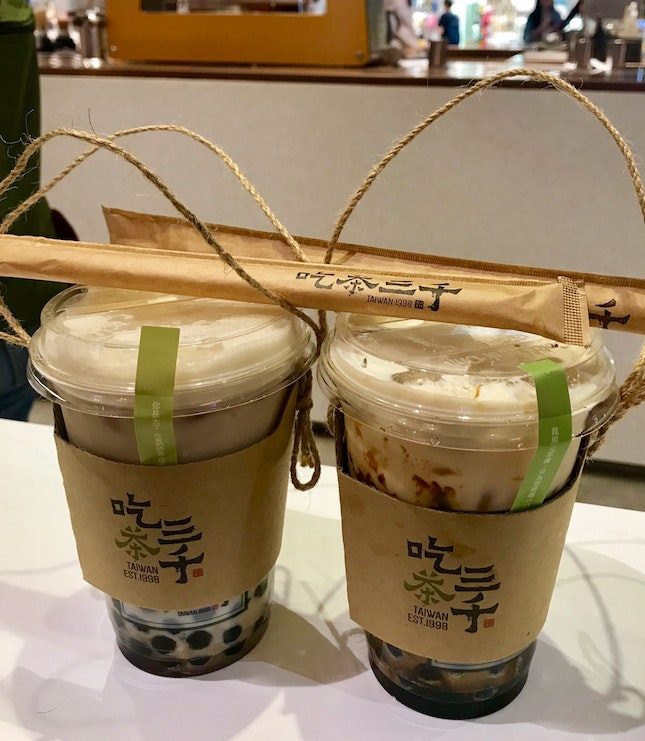 Dong Ding oolong milk tea with bubble & fresh milk brown sugar bubble ($10.20)