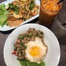 Pad Thai, Basil pork with rice & Thai milk tea