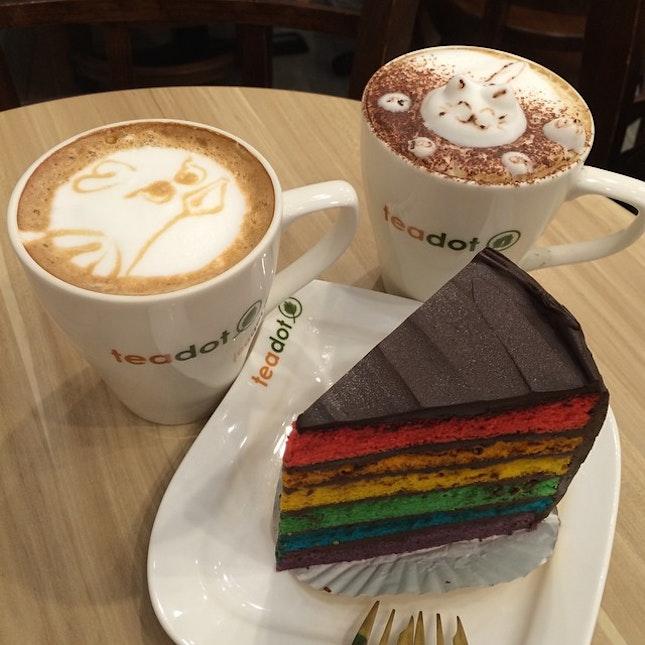 #teatime #desserts #coffee and its call #TiredCoffeeLatte #BoringCappucino 😂 #chocolate #rainbow #cake