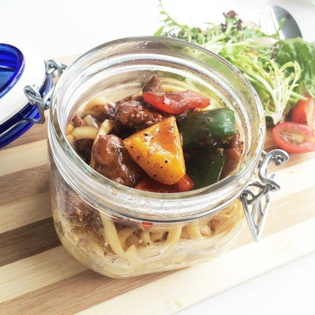 #blackpepper #chicken #pasta in a #jar #veggie #brunch #lunch #happygirl