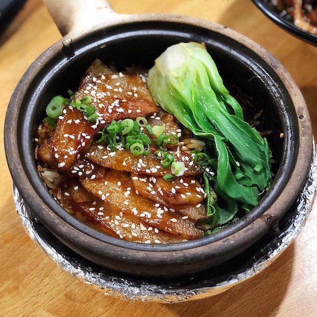Teriyaki Pork Jowl Claypot Rice ($7)