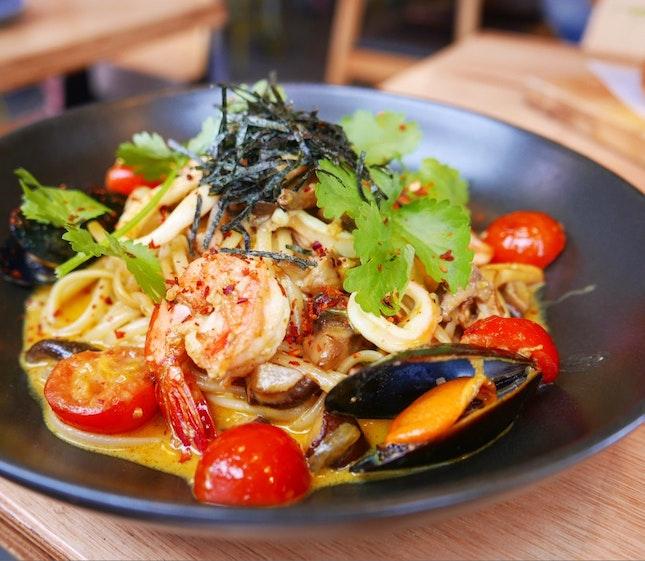 Tom Yum Seafood Pasta ($17)