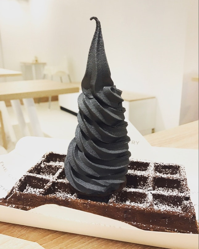 Chocolate Rootbeer Waffle with Charcoal Vanilla Soft Serve