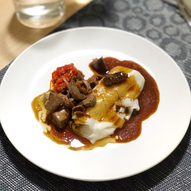"""Chee Cheong Fun With Duck Offal (part of the """"What The Duck"""" Dinner: $99 per pax)"""