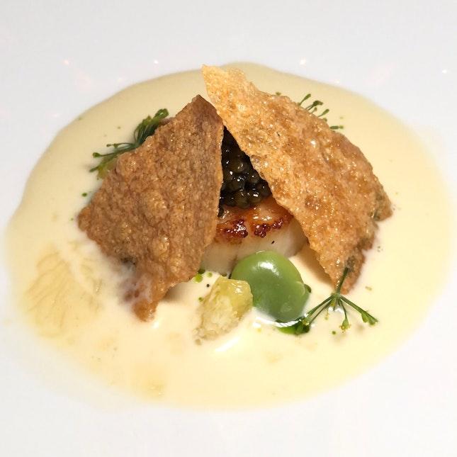 Hokkaido Scallop & Caviar (A Course In The $155++ Chef's Tasting Menu)