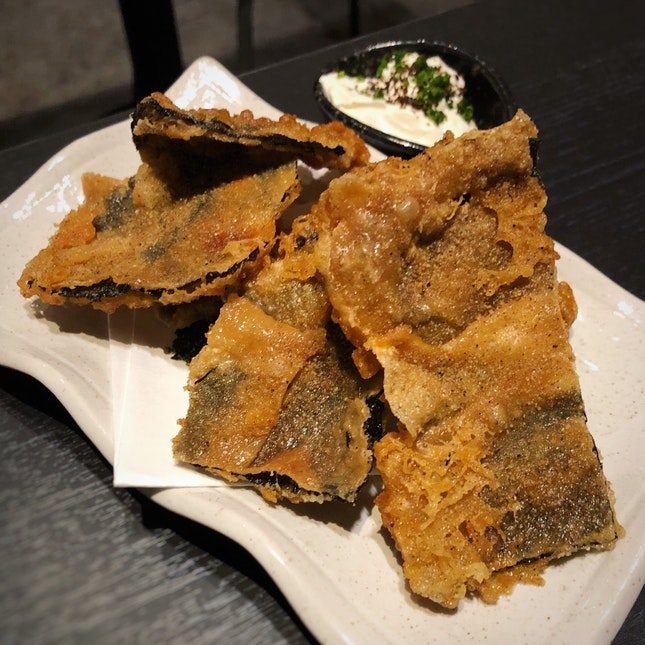 Seaweed-Wrapped Chicken Skin Chips ($10)