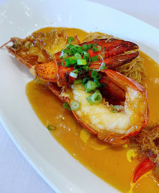 Simmered Egg Noodles With Lobster And X.O. Chilli Sauce ($39++)