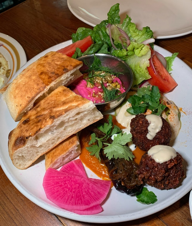 The Mezze Platter with grilled Turkish bread ($24++)