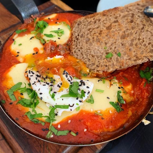 Shakshuka With Egg, Mozzarella And Hand-Pulled Lamb ($22)