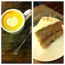 Single Estate Ethiopan latte and a deliciously moist Hummingbird cake!