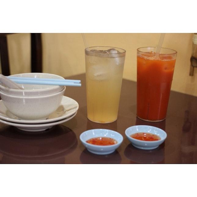 Thai Ice Milk Tea & Lemongrass Drink.