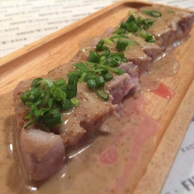 Tuna tataki with miso sauce.