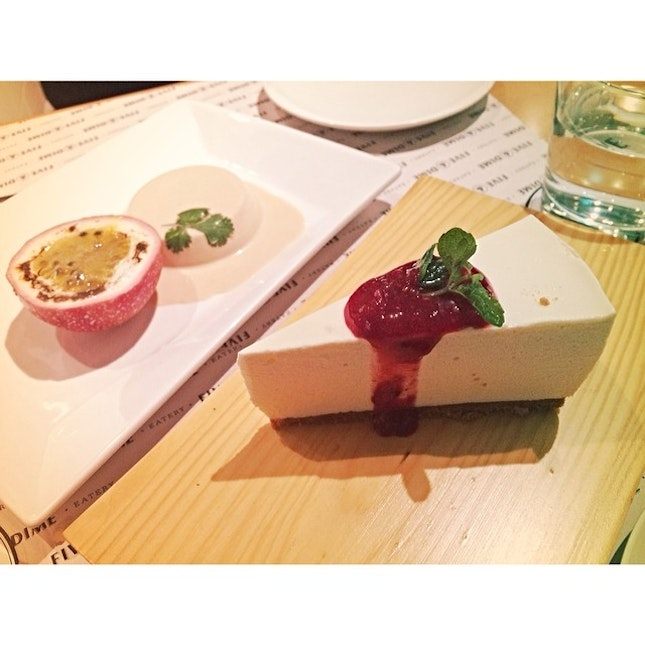 Yesterday's desserts -- milk tea flavoured panna cotta with passionfruit (dish of the night!) and berries cheese cake.