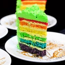They took this slice of rainbow cake into a whole new level by making it a durian rainbow cake!!!